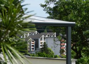 Alu - Terrassenüberdachung mit Aluminium Profilfarbe RAL 7016ST