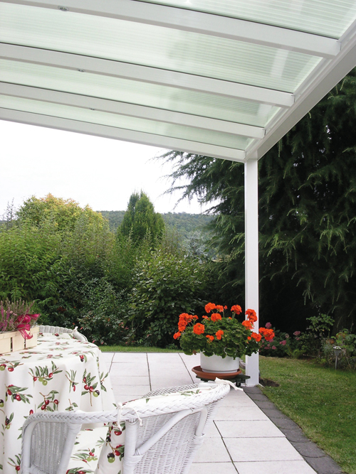 Terrassendach mit Stegplatten opal