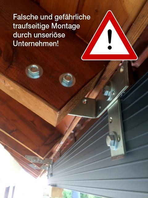 ACHTUNG: Gefährliche Sparren-Montage