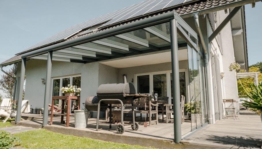 Terrassenüberdachung VSG mit Wandanschluss